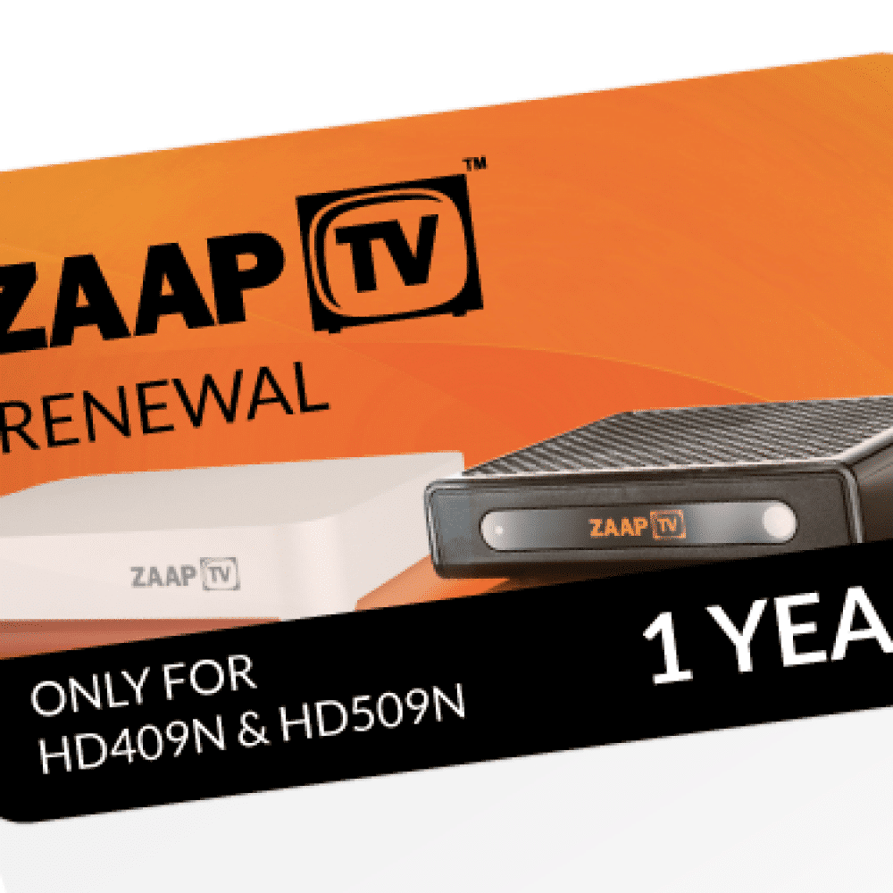 ZAAPTV 1 Year Renewal Card / PIN for HD409/509 Devices